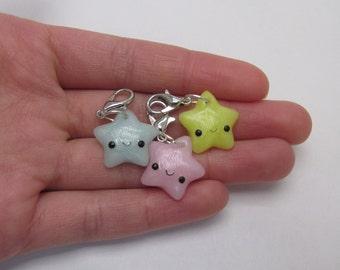 Kawaii Pastel Star Charm - Polymer Clay Charm, Necklace Charm, Polymer clay Jewelry, MinitureCharm