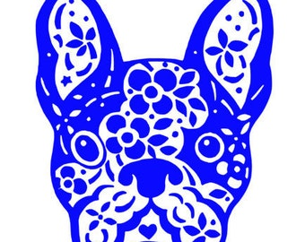 French Bulldog floral Decal