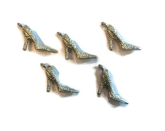 High Heel Charms - Heel Charms - Shoe Charms - Silver Charms - Lot of 5 High Heel Charms - Jewelry Supplies