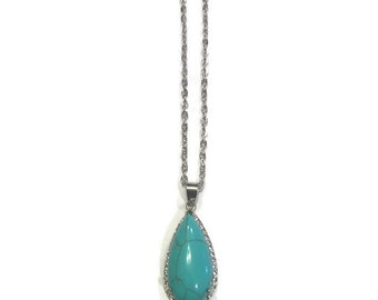 Pendant Necklace - Turquoise Necklace - Teardrop Necklace - Silver Jewelry