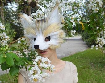 Faux Fur Fennec Fox Mask, handmade by Spirit Parade