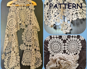 Crochet Scarf Pattern With Round Motives - Three Crochet Doilies Diagrams - Graph Pattern - DIY Summer Wrap Scarf for Her - Crochet Mandala