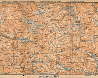 1903 Telemark Norway Antique Map