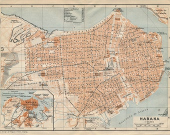 1909 Havana Cuba Antique Map