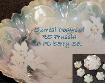 Antique RS Prussia Surreal Dogwood Pattern Berry Set 6 Piece Antique German Porcelain Bowls Art Nouveau Period Decor