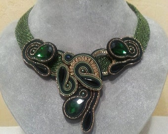"""Necklace made from crochet wire with Soutache element """"Romanov emeralds"""" 1 (jewelry set)"""