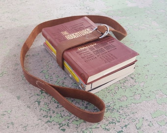 Classic Brown Leather Book Belt