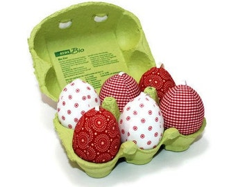 Easter egg stitched fabric eggs set of 6 with box 6 cm unbreakable red white dotted fabric Easter eggs Eisbaerchenmama