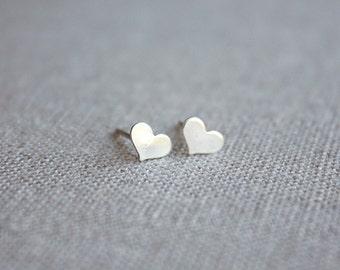 Small Sterling Silver Heart Stud Earrings, Post Earrings, Heart Earrings, Simple Heart Earrings, Dainty Jewelry, Minimalist Post Earrings
