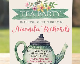 Tea party invitation, tea party bridal shower invitation, tea party invitation printable, tea party birthday invitation, tea party baby