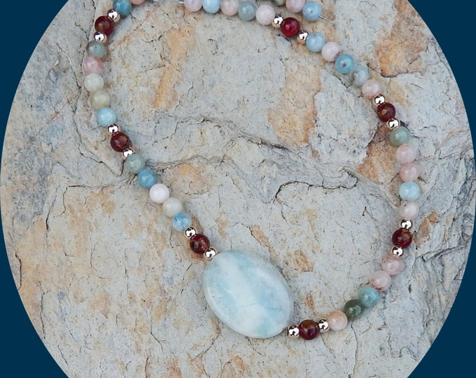 Featured listing image: On Sale! Gorgeous Multicolored Morganite Beads, Rose Gold Plated Beads, Red Gold Jasper With Larimar Center Stone