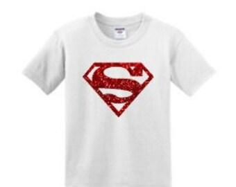 Little Girls Supergirl Glitter T Shirt Super Hero Next Level DC Comics