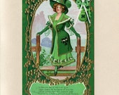 Vintage Saint Patrick's Day Postcard Pretty Shamrock Girl Coming Through An Irish Stile Emerald Green Golden Harps Clay Pipes Used - 5304P