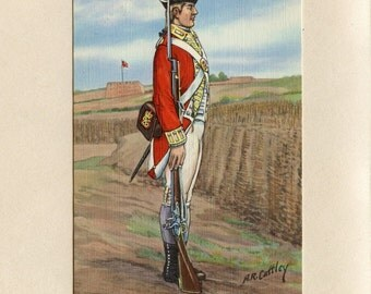 Fort Ticonderoga NY Vintage Postcard Scottish Soldier Private Uniform 26th Regiment under Colonel Earl of Angus by Alexander Cattley 5949Pc