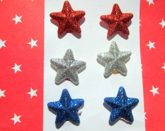 3-Red white and blue star earrings-childrens clip on earring-sparkly Star stud-patriotic jewelry-fourth of july-kids jewelry set-party favor