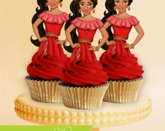 Princess Elena of Avalor Cupcake Toppers, Princess Cupcake Toppers, Elena of Avalor, Elena of Avalor Birthday, Elena of Avalor Party, Cake