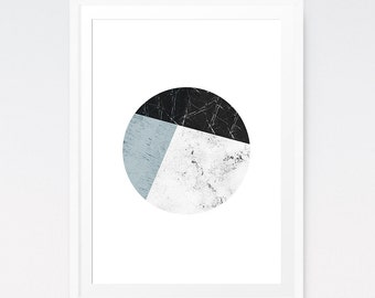 Geometric Circle, Blue and Black, Zen decor, Minimalist Art, Geometric Wall Print, Trending Art, Living Room Art, Modern Art, Boho Art