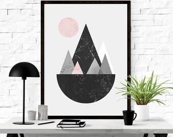Abstract Print, Geometric Print Art, Abstract Landscape, Scandinavian Modern, Abstract Printable, Large Abstract, Modern Art Print