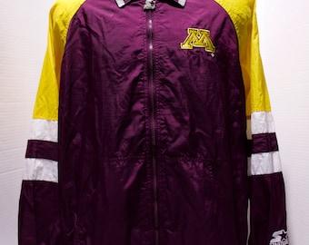 90s STARTER University Of Minnesota Windbreaker Jacket Size XL