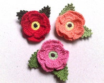 Crochet poppies and 2 green leaves Handmade flowers Red flowers applique flowers Gift decorations Applique Embellishment Poppies applique
