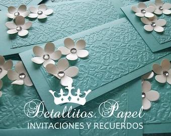 Quinceanera Invitation, wedding Invitation, Handmade 100 Invitations, Sweet 16 Invitation