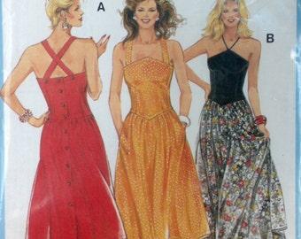 Burda 6541 - 1980s Back Button Sundress in Halter of Criss Cross Straps - Size 8 10 12 14 16 18