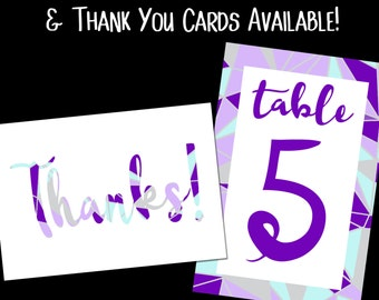 Coordinating Table Numbers and Thank You Cards