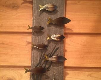 fish, wall art, barn wood