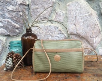 Vintage 80s Liz Claiborne Logo Purse / Moss Green Leather / Long Strap / Cross Body Shoulder Bag