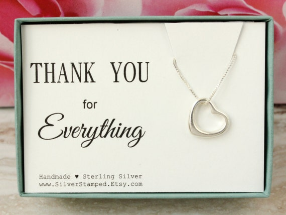 Thank You Gift For Friend Sterling Silver Open Heart Necklace