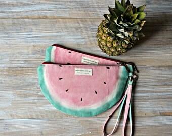 Watermelon Wristlet Clutch - Watermelon Zipper Pouch - Fruit Theme Zipper Bag - Wristlet Clutch Bag