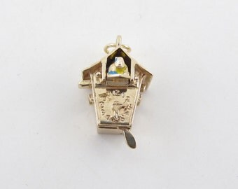 14k Yellow Gold Vintage Cuckoo Clock Charm Pendant Bird Pops Open