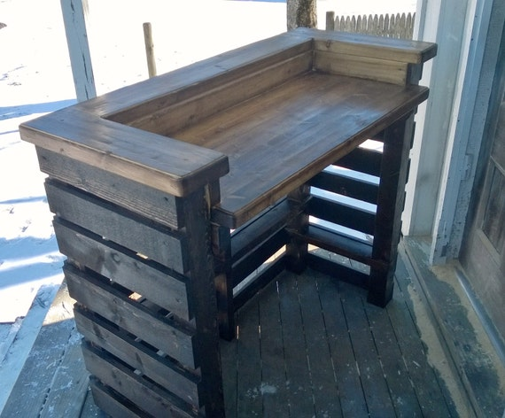 Rustic pallet bar unit reclaimed wood for Wooden bar unit