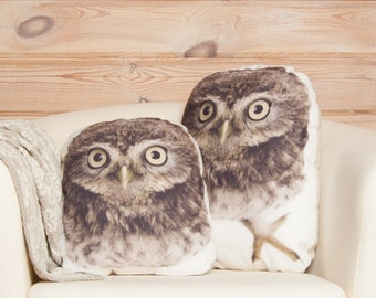 Owl Pillows – Set Of Two, Owl Nursery Home Decor, Owl Cushion, Stuffed Animal Plush, Accent Pillow