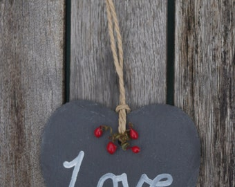 Love Slate Heart - Stocking filler, Slate hearts, Christmas decoration, Welsh, Gifts for her, Valentines day, Home decor, Hanging heart