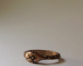Bronze Ouroboros ring, snake ring, READY TO SHIP