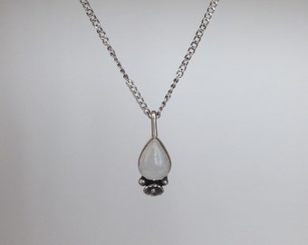 Teardrop Rainbow Moonstone and Sterling Silver Necklace