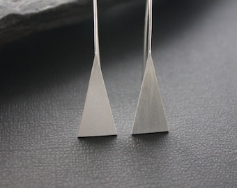 "Brushed silver triangle earrings. Geometric earrings. ""Triangle Earrings - Medium""."