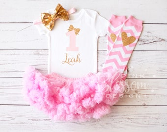 First Birthday Girl Outfit, 1st Birthday Outfit, Personalized First Birthday Onesie, 1st Birthday Onesie, Girls Gold Pink Princess Outfit,