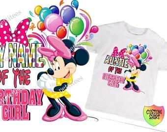 Any Name Of Birthday Girl Minnie Mouse Shirt Custom Tshirt  p221