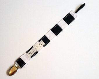 Pacifier Clip: Black & White Striped - Black and White Pacifier Clip - Monochrome Paci Clip - Pacifier Clip Boy - Gender Neutral Binky Clip