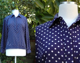 1970s 1980s Navy Long Sleeve Blouse with White Polka Dots // 70s 80s Blue White Dot Long Sleeve Koret Blouse