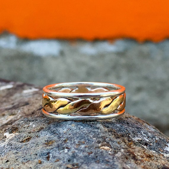 Mens Wedding Bands Unisex Ring 9ct Twist Gold By