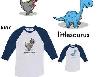 Daddysaurus & Littlesaurus Dinosaur Matching Father Son Shirt, Father Day, Christmas Gift, Kid Shirt, Dinosaur Shirt not Bodysuit CT-388-395
