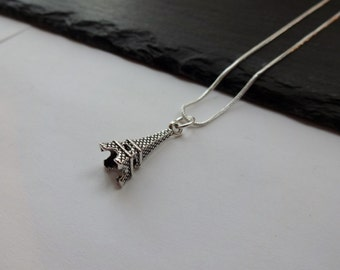 Eiffel Tower Necklace, Silver Charm Necklace, Silver Plated Chain