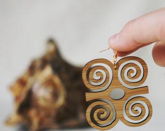 Dwennimmen Earrings, Adinkra Earrings, African Jewelry, Adinkra Jewelry, African Gifts, African Earrings, Afrocentric Jewelry, Bamboo
