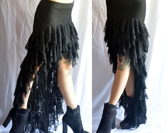 Fluffy Lace Gothic Black Tango Skirt