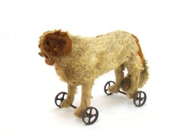 Antique Steiff Dog; Steiff St. Bernard; Steiff Saint Bernard; Steiff Pull Toy; Steiff on Wheels; Dog on Wheels; Steiff Parts; Vintage Steiff