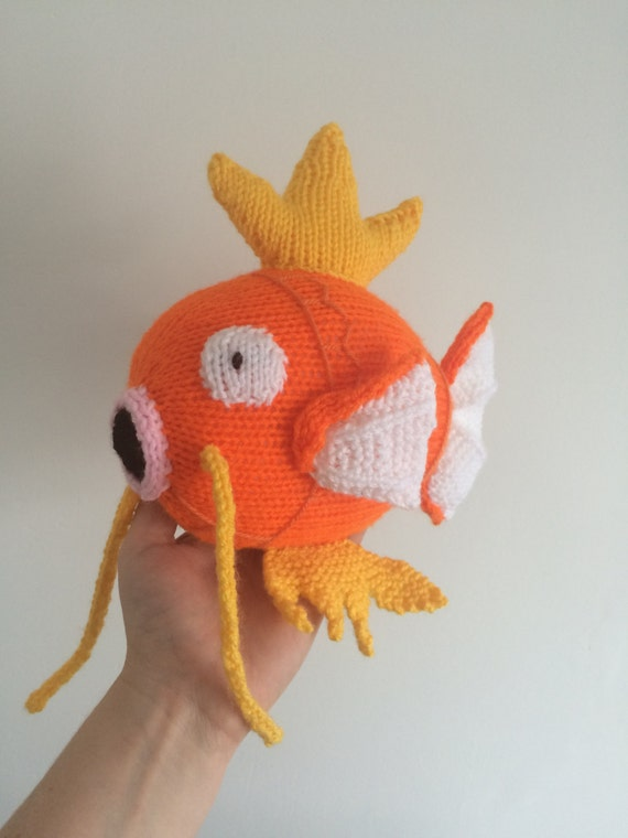 Magikarp pokemon knitting pattern plushie toy childrens animal soft toy amigurumi fish knit knitted pdf download