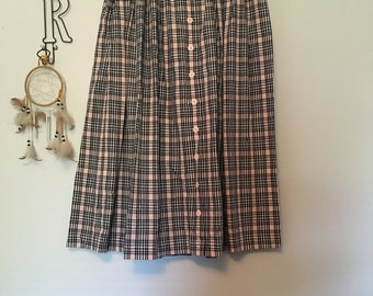 light pink and black plaid skirt
